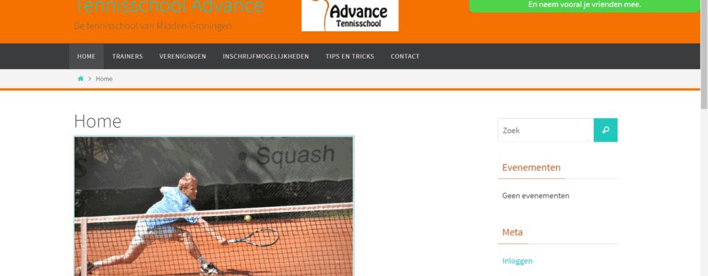 Website voor Tennisschool Advance